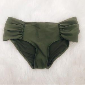 Aerie Rugged Green Ruched Bikini Bottom